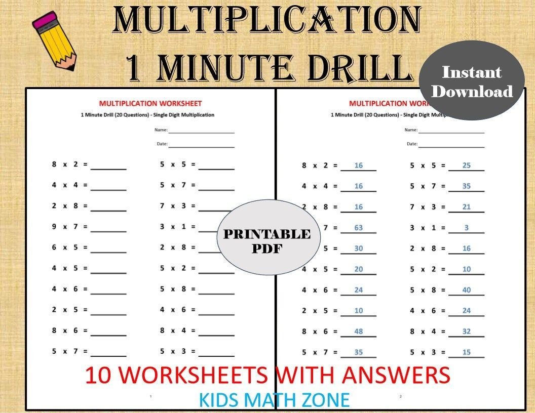 Multiplication 1 Minute Drill H 10 Math Worksheets With Etsy Math Worksheets Kids Math Worksheets 2nd Grade Math Worksheets