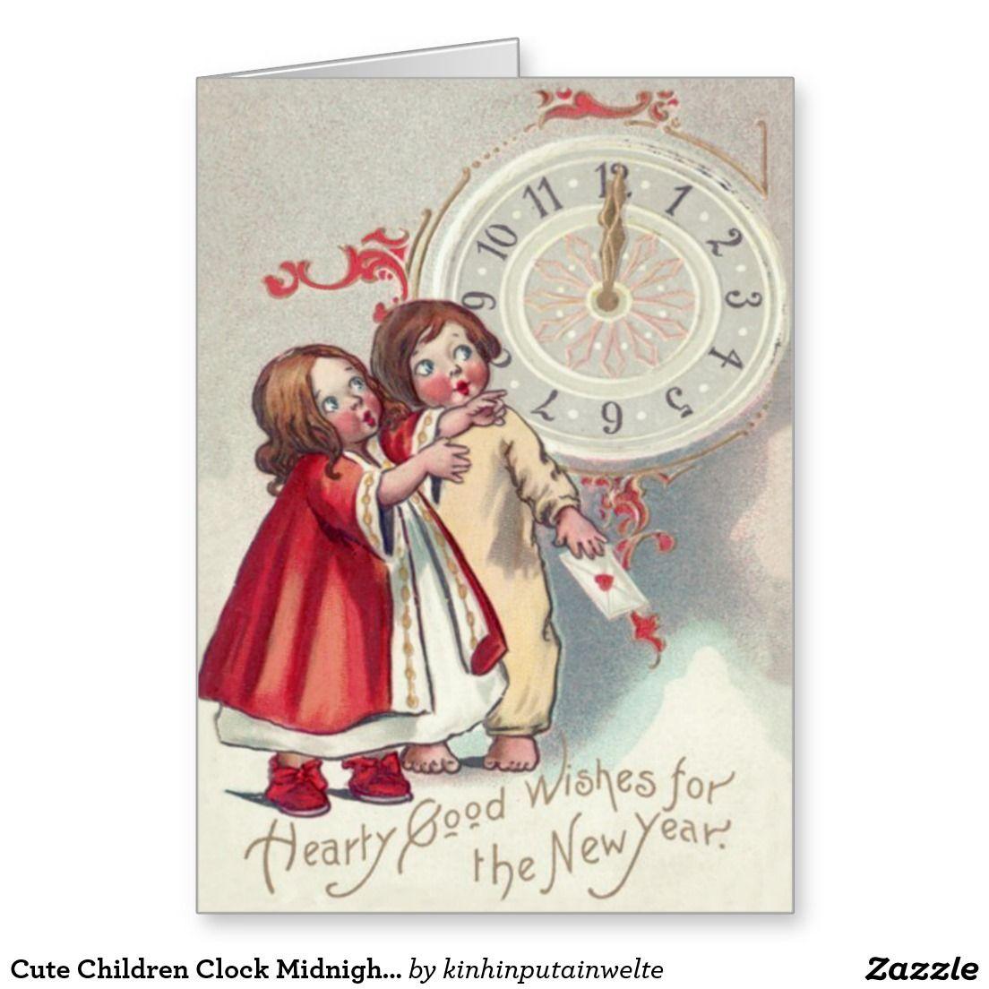 Cute Children Clock Midnight Letter Heart Greeting Card