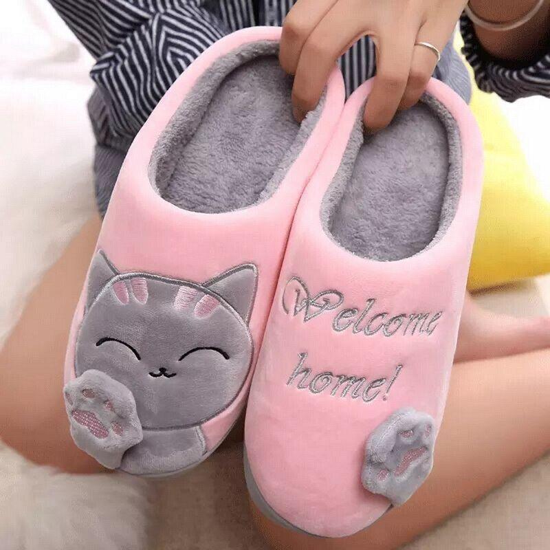Oeak Zapatillas De Casa De Invierno Para Mujer Zapatos De Gato De Dibujos Animados Antideslizantes Suaves Zapatillas De Casa De Invierno Para Amantes Del Do Zapatillas De Casa Zapatos Para Gato