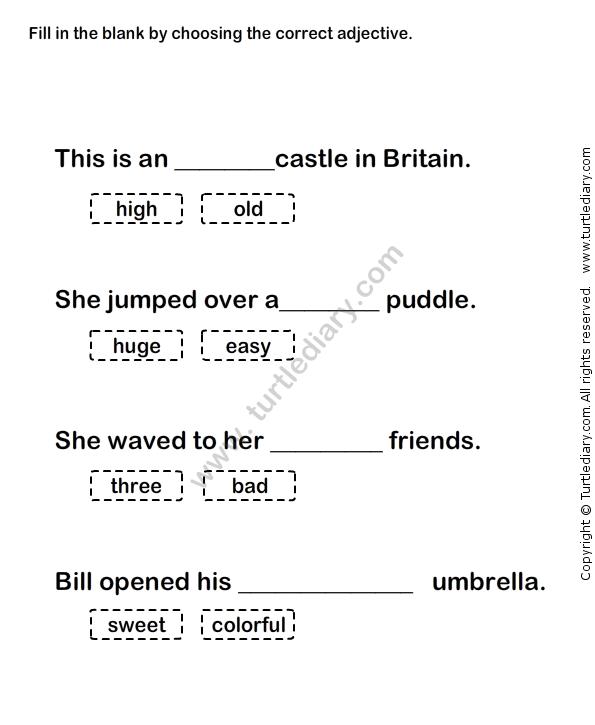 Worksheets Describing Words 1st Grade Worksheets Adjective Worksheet