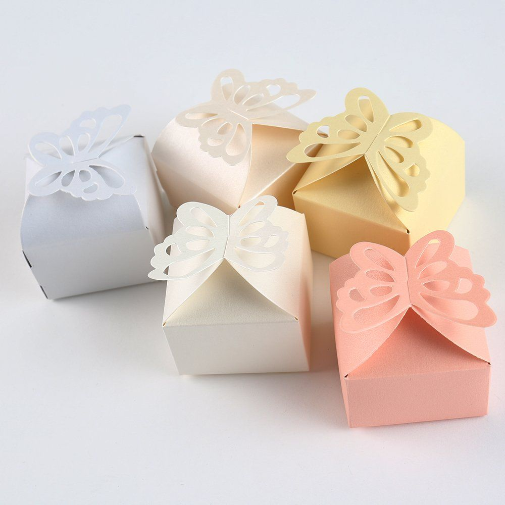 Gumind 50pcs Candy Boxes Bow-knot Bonbonniere with 5 Colors for ...