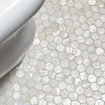 mother of pearl hex tile   pearl tile, traditional