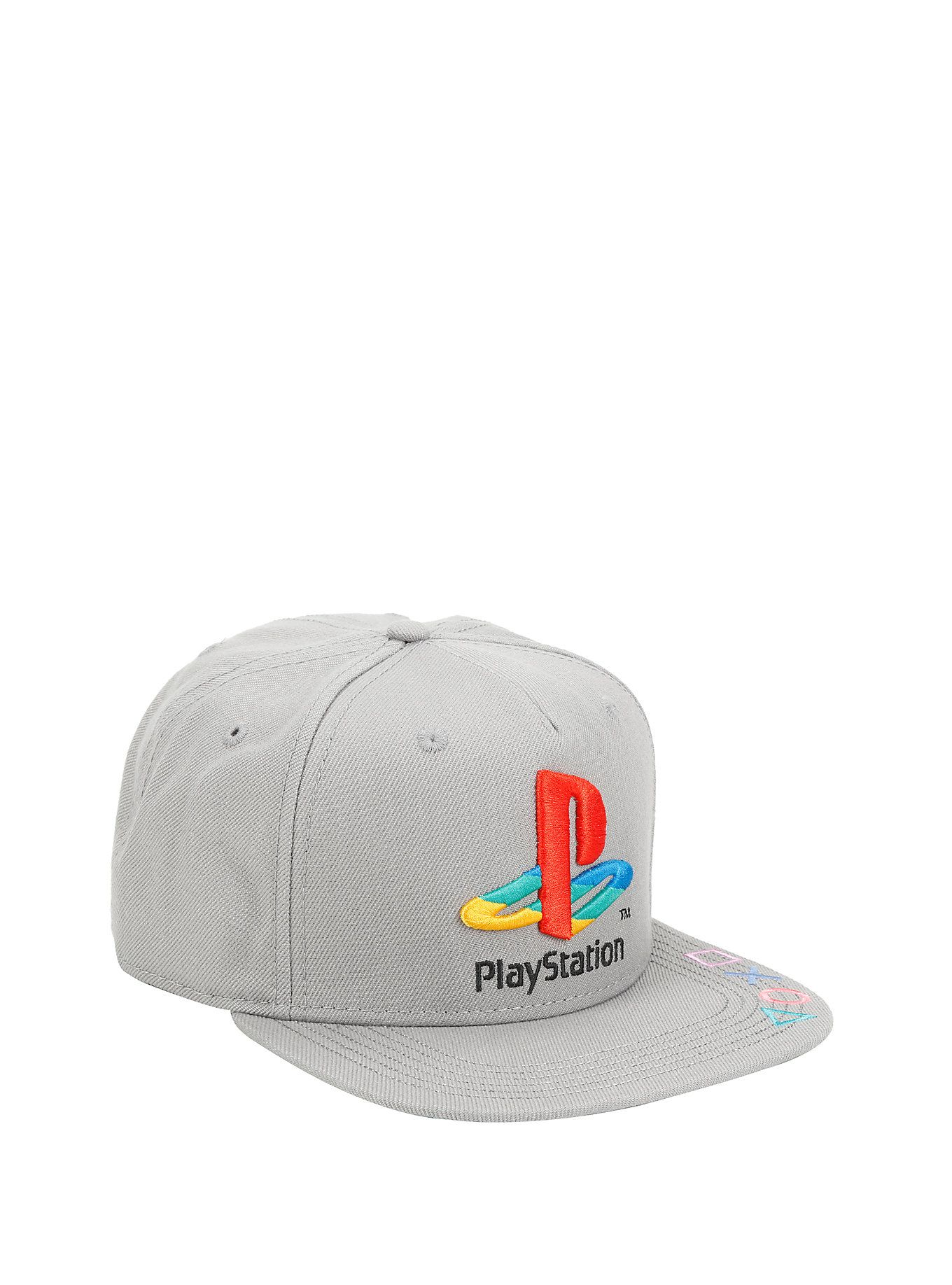26cb2cf560f This is perfect for the classic gamer. Grey snapback hat featuring an  embroidered Playstation logo and button symbol embroidery detail on bill.