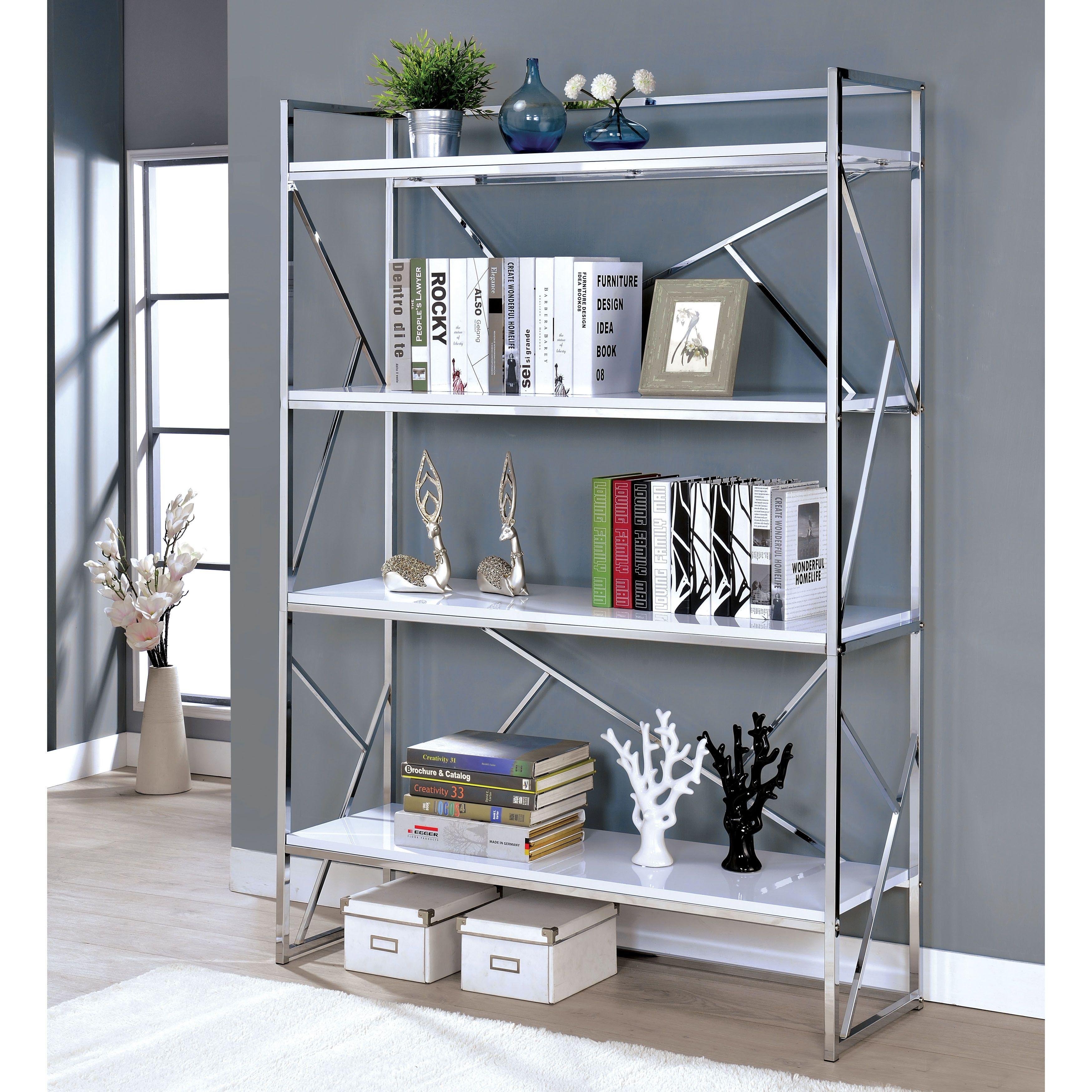 Furniture Of America Merian Contemporary 4 Shelf White Chrome Bookcase Silver
