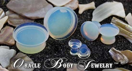 Mayan Flared Opalite Plugs by Oracle Body Jewelry