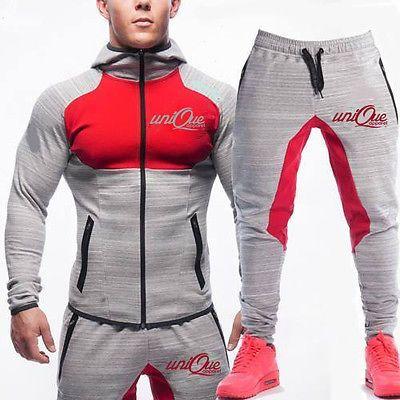 823214406f3ce ... Tracksuit Set Fleece Hoodie Top Bottoms Jogging Joggers Gym CONTRAST