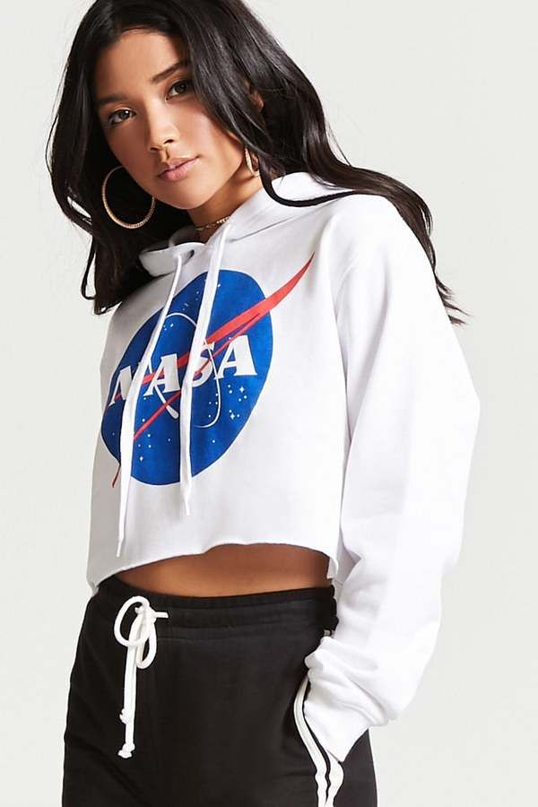 249d498fed7092 FOREVER 21 NASA Logo Cropped Hoodie