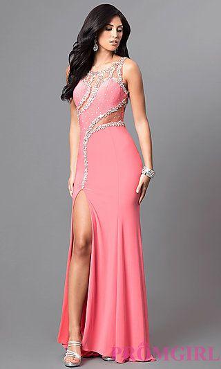 Long Formal Jewel-Embellished Coral Pink Prom Dress at PromGirl.com ...
