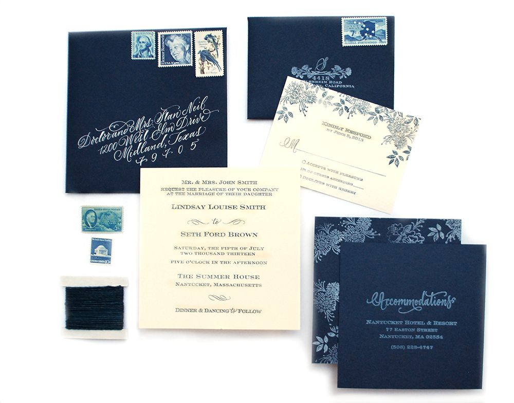 DIY Tutorial Indigo Floral Print Wedding Invitations Indigo