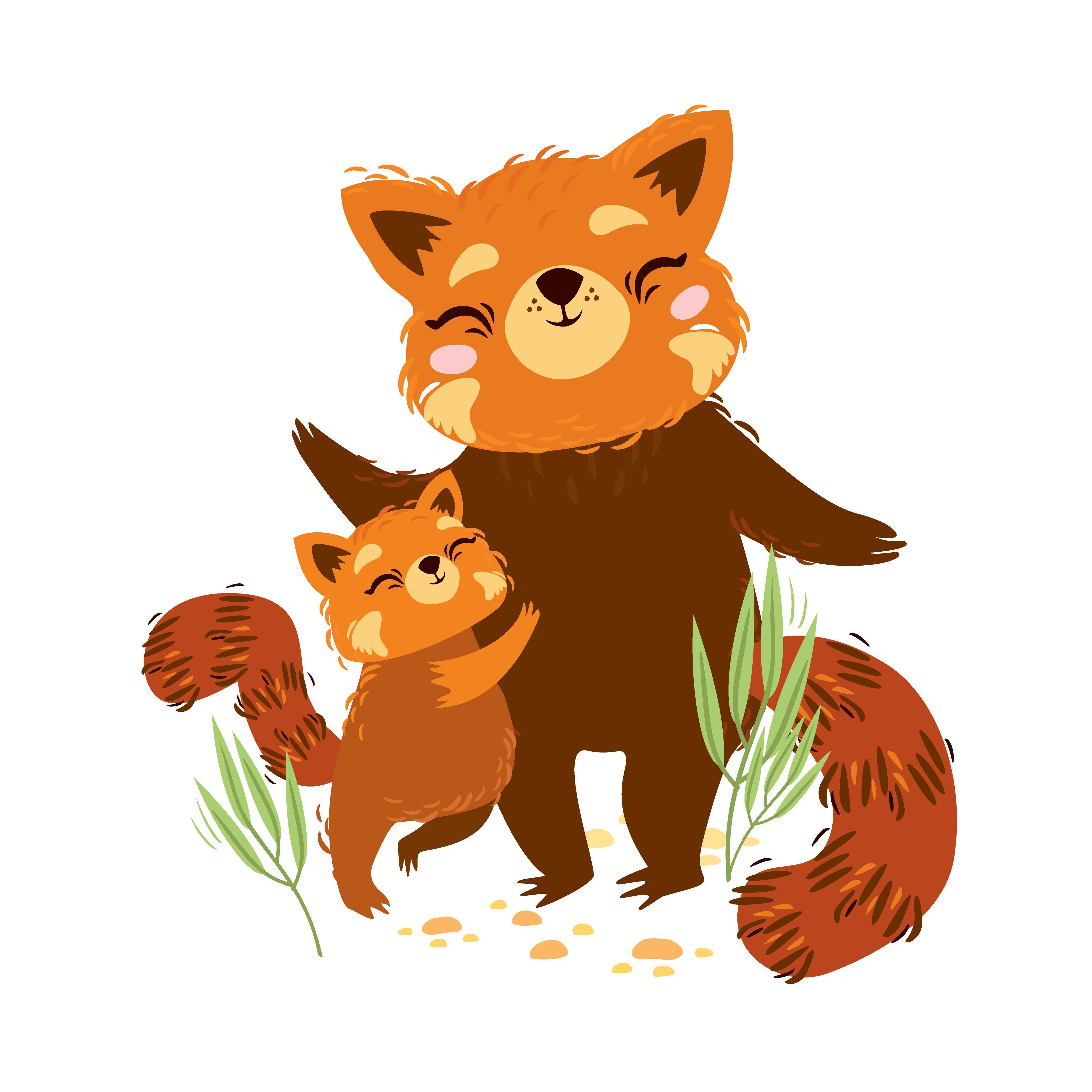 Baby Animals Mother Sute Family Hug Illustration Animal Illustration Red Panda
