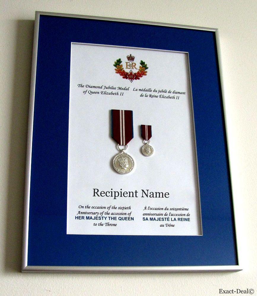 Canada Queen Elizabeth Ii Diamond Jubilee Full Size Miniature Medals Framed Her Majesty The Queen Jubilee Frame
