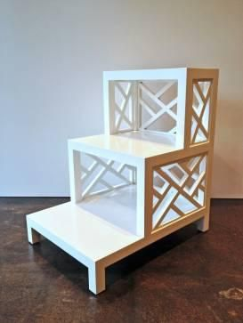 Tables   Three Tier Painted Bedside Table | Mecox Gardens  Three Tiered  White Lattice Nightstand