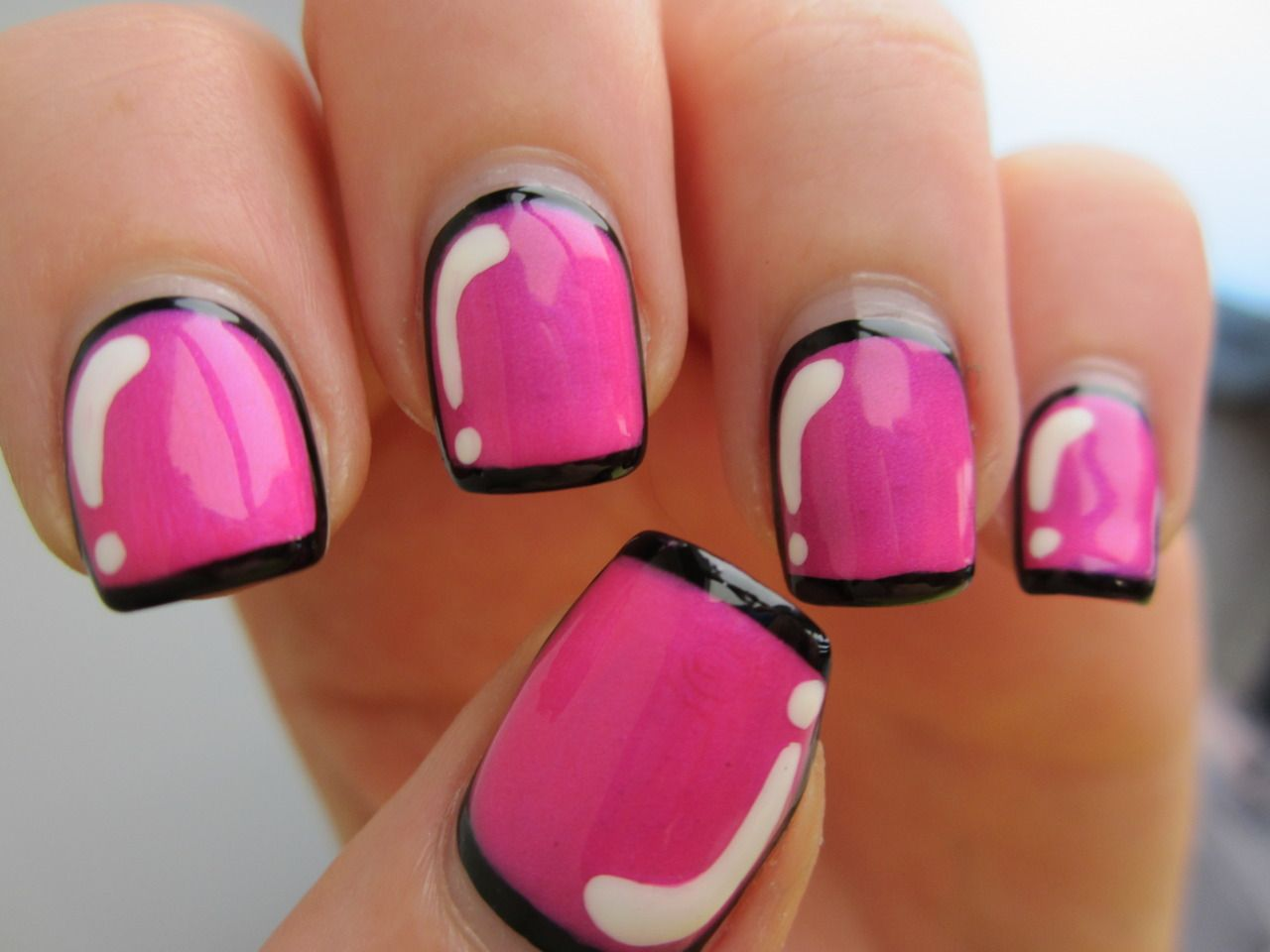 Hot pink cartoon nails tutorial: Paint the nails black. Paint over ...