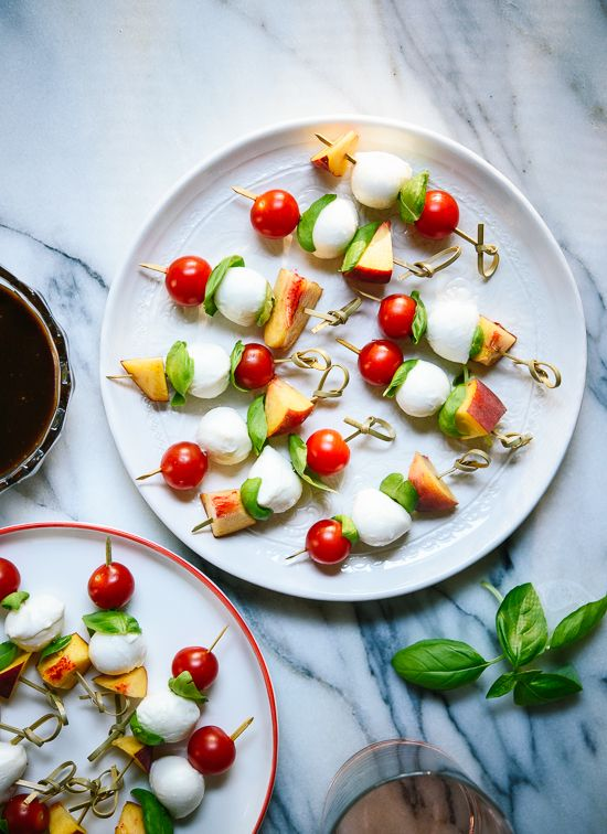 Caprese skewers with balsamic dipping sauce, a simple and fun summer appetizer.
