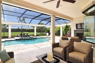 Lovely Indoor Pool With Patio Area Tv And Fireplace Just