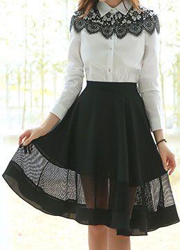 Mesh Detail Knee-length Flared Skirt, Styleonme