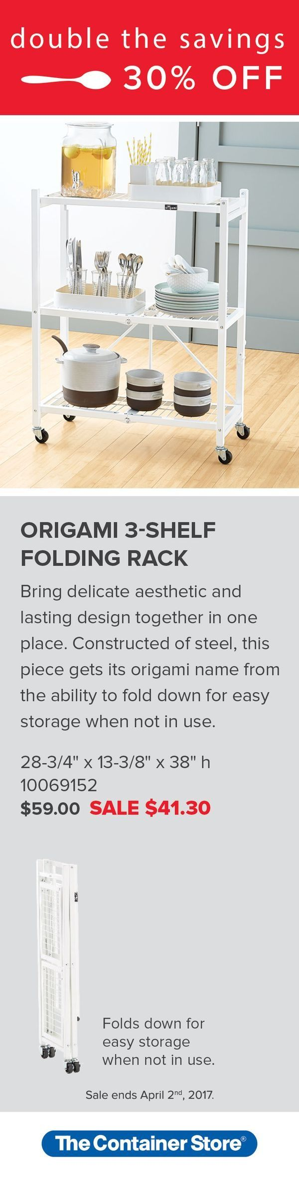 Origami 3 shelf folding rack origami clever and shelves origami 3 shelf folding rack jeuxipadfo Gallery