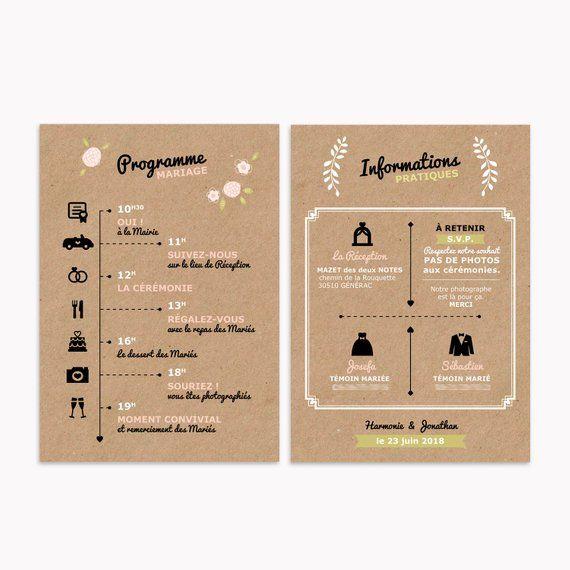 Programme Mariage détaillé – Collection champêtre