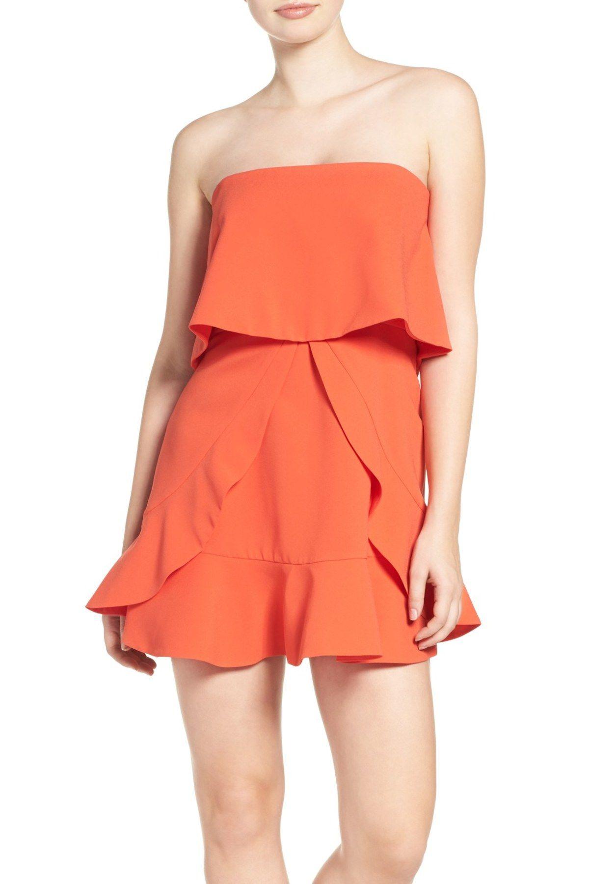 Charlot Strapless Ruffle Crepe Popover Dress Corset Style Dresses Fancy Dresses Frilly Dresses [ 1800 x 1200 Pixel ]