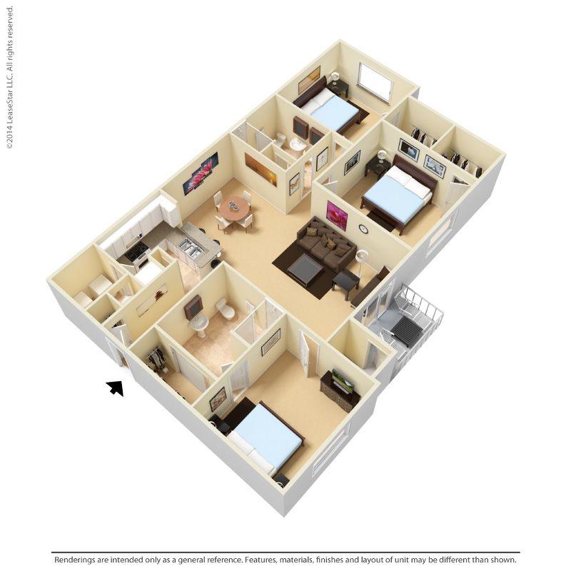 Seattle Apartment Xyz 3d Floor Plan Example Seattle Apartment House Plans Floor Plans