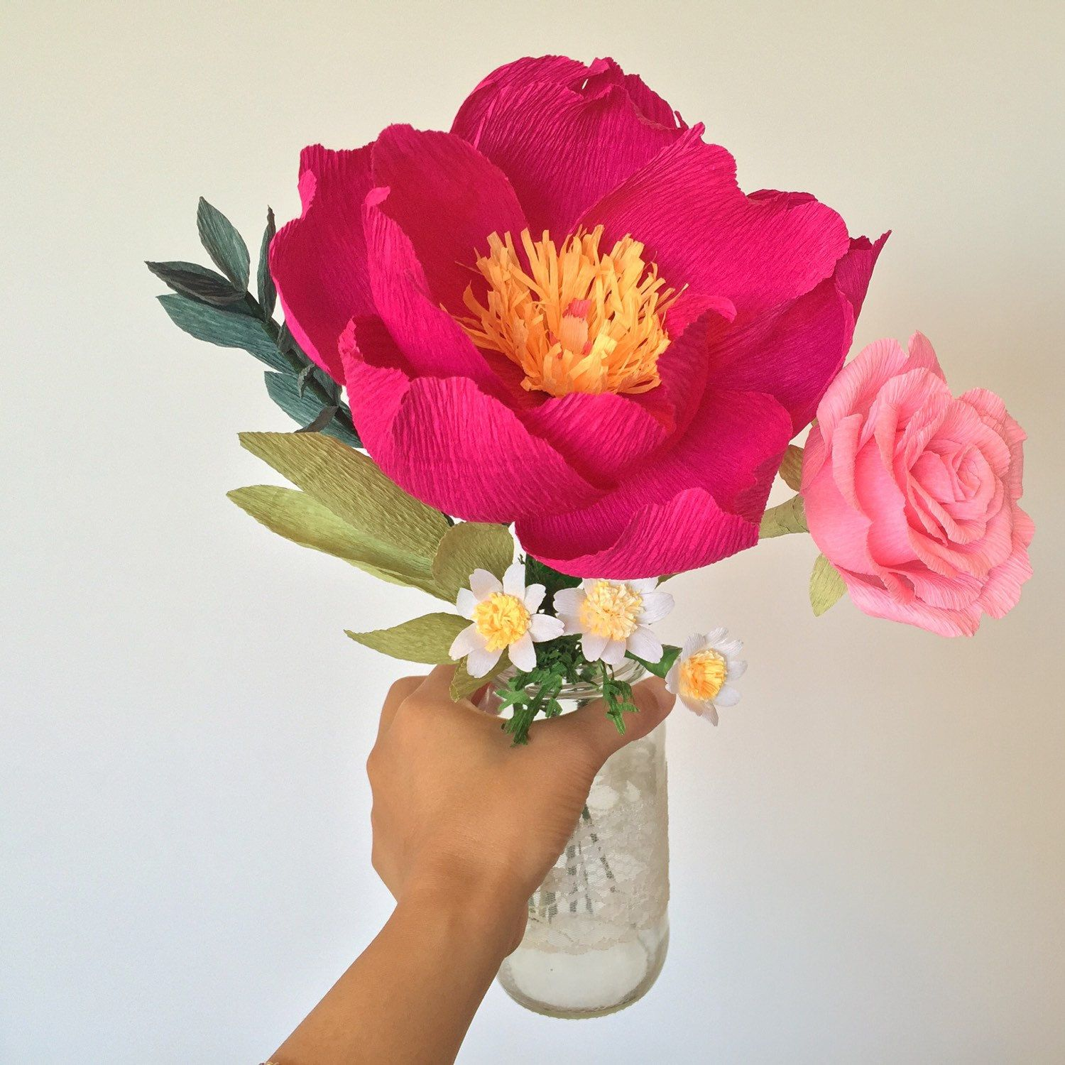 Peony, Rose And Daisies Paper Flower Bouquet Looking Lovely In