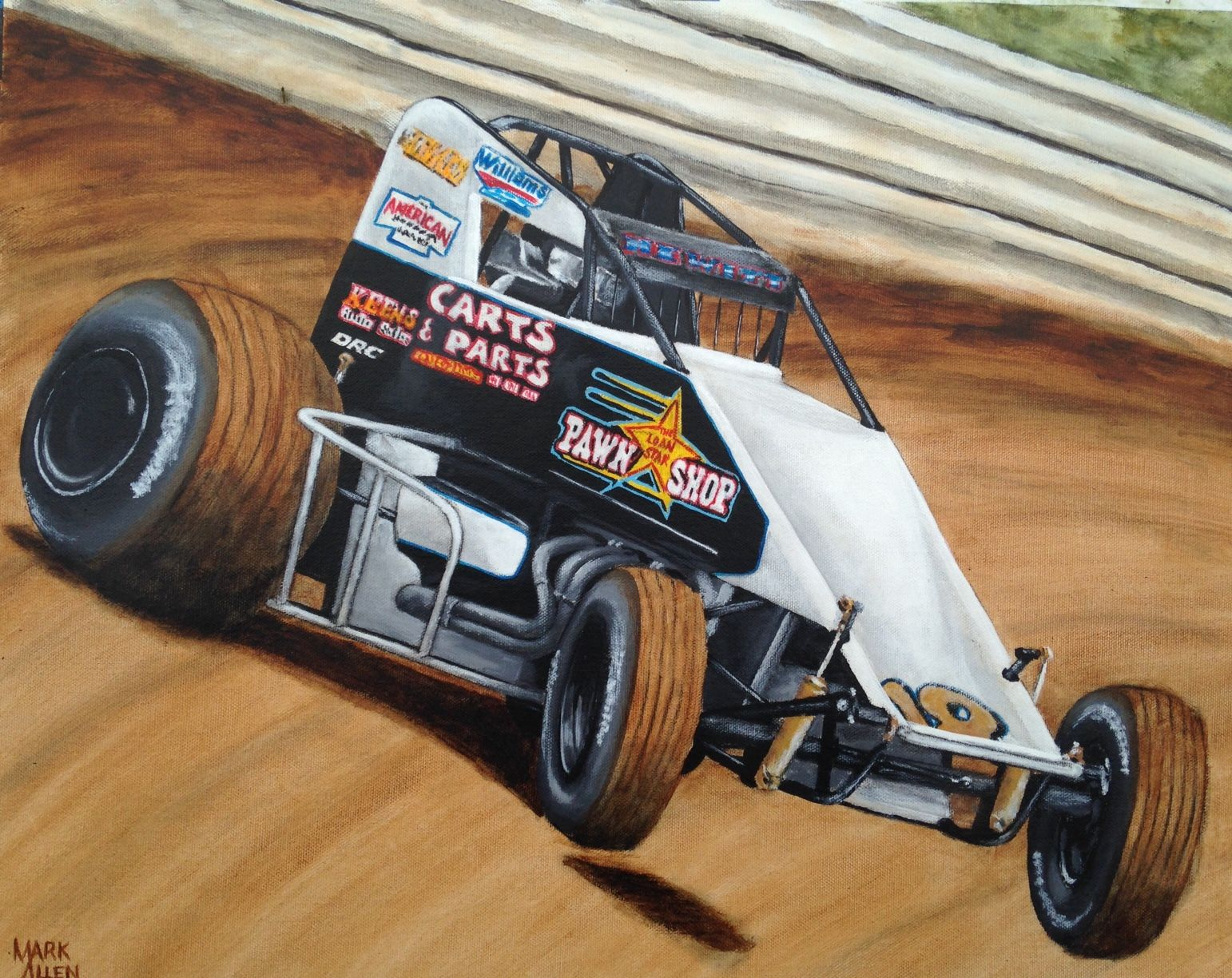 Dallas Hewitt Non Wing 410 Sprint Car 16 X 20 Acrylic On Canvas