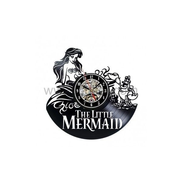 Vinyl Wall Clock The Little Mermaid Creative Clock (€34) ❤ liked on Polyvore featuring home, home decor, clocks, outdoor clocks, little mermaid home decor, battery clock, outside home decor and battery powered clock