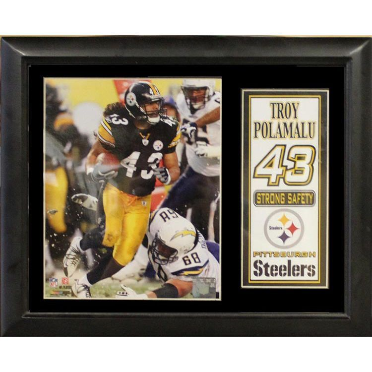 pittsburgh steelers troy polamalu deluxe photostat frame 11x14