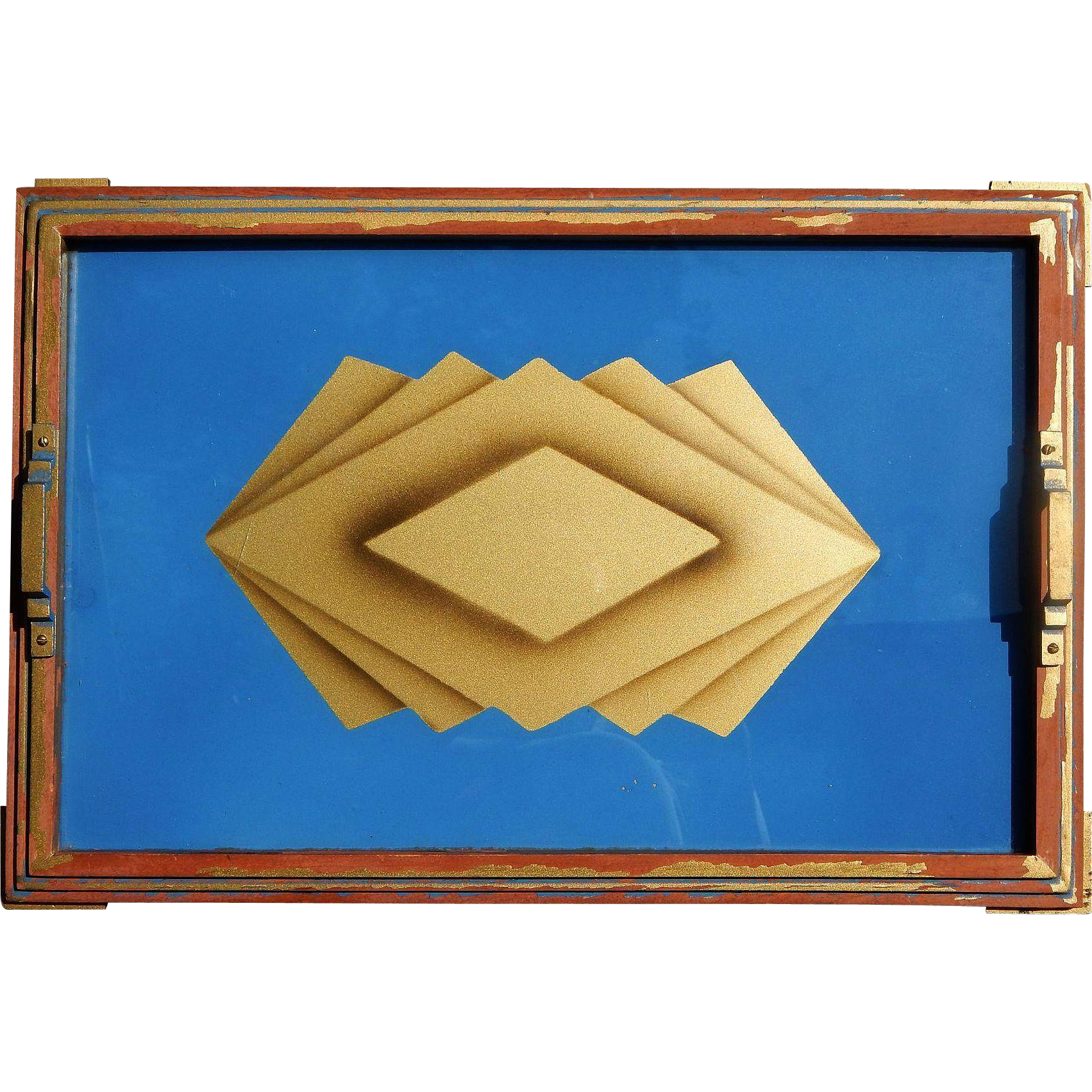 Bold Art Deco Vintage Tray Wall Art Sky Blue and Gold Geometric ...