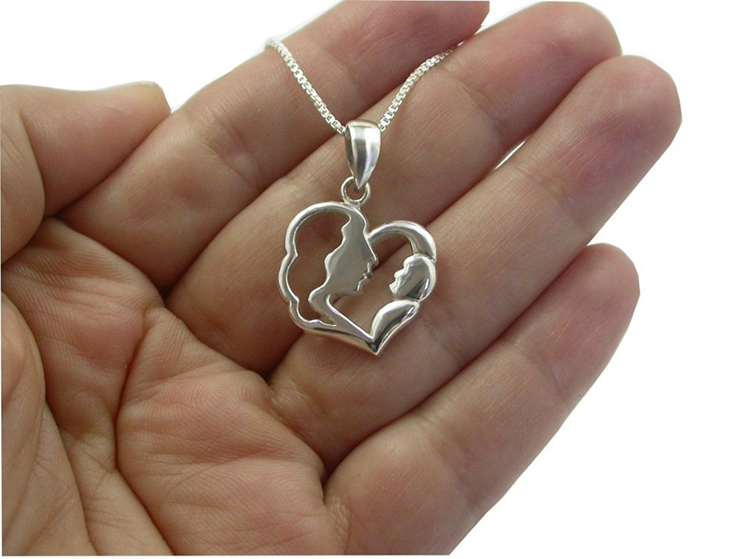 Sterling silver mom mother child pendant heart necklace 18 chain sterling silver mom mother child pendant heart necklace 18 chain learn more by visiting aloadofball Image collections