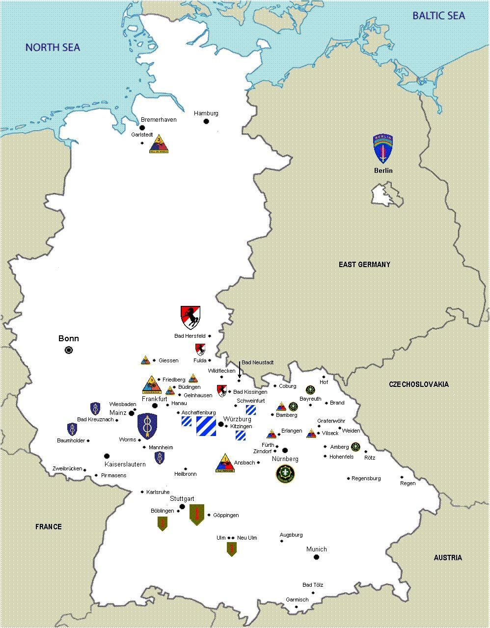 U S Army Standorte 1987 Karte Deutschland Illustrierte Karten
