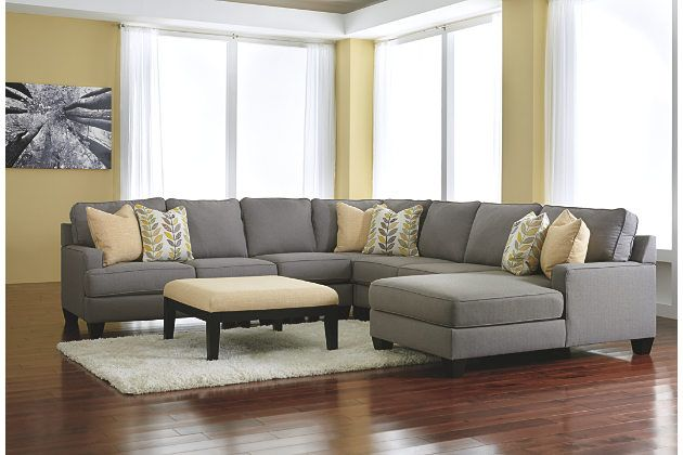 Chamberly Five Piece Alloy Gray Chaise Sectional Sofas With Modern Oversized Ottoman 2044
