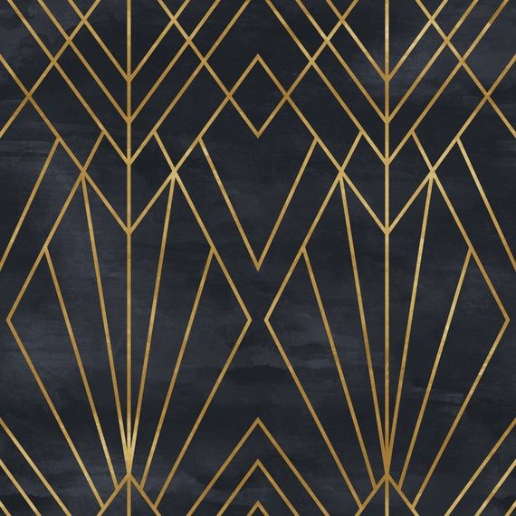 Removable Peel 'n Stick Wallpaper, Self-Adhesive Wall Mural, Geometric Black & Gold Pattern, Watercolor Black Background • Art Deco