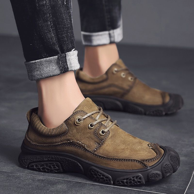 Genuine Leather Men's Hiking Shoes Anti-collision