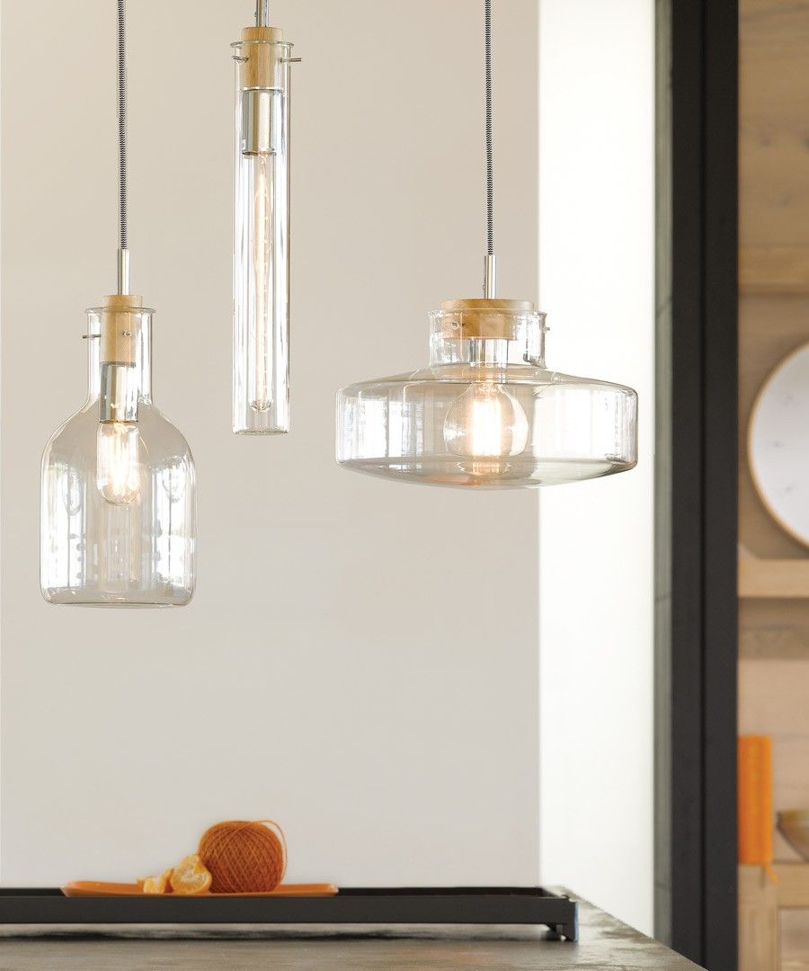 Lab 1 Light Pendant With 400mm Tube Shaped Glass Shade
