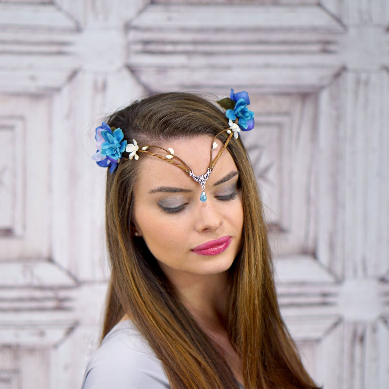 Elven crown elven headdress blue elven flower crown with silver elven crown elven headdress blue elven flower crown with silver detail fantasy headpiece izmirmasajfo Image collections
