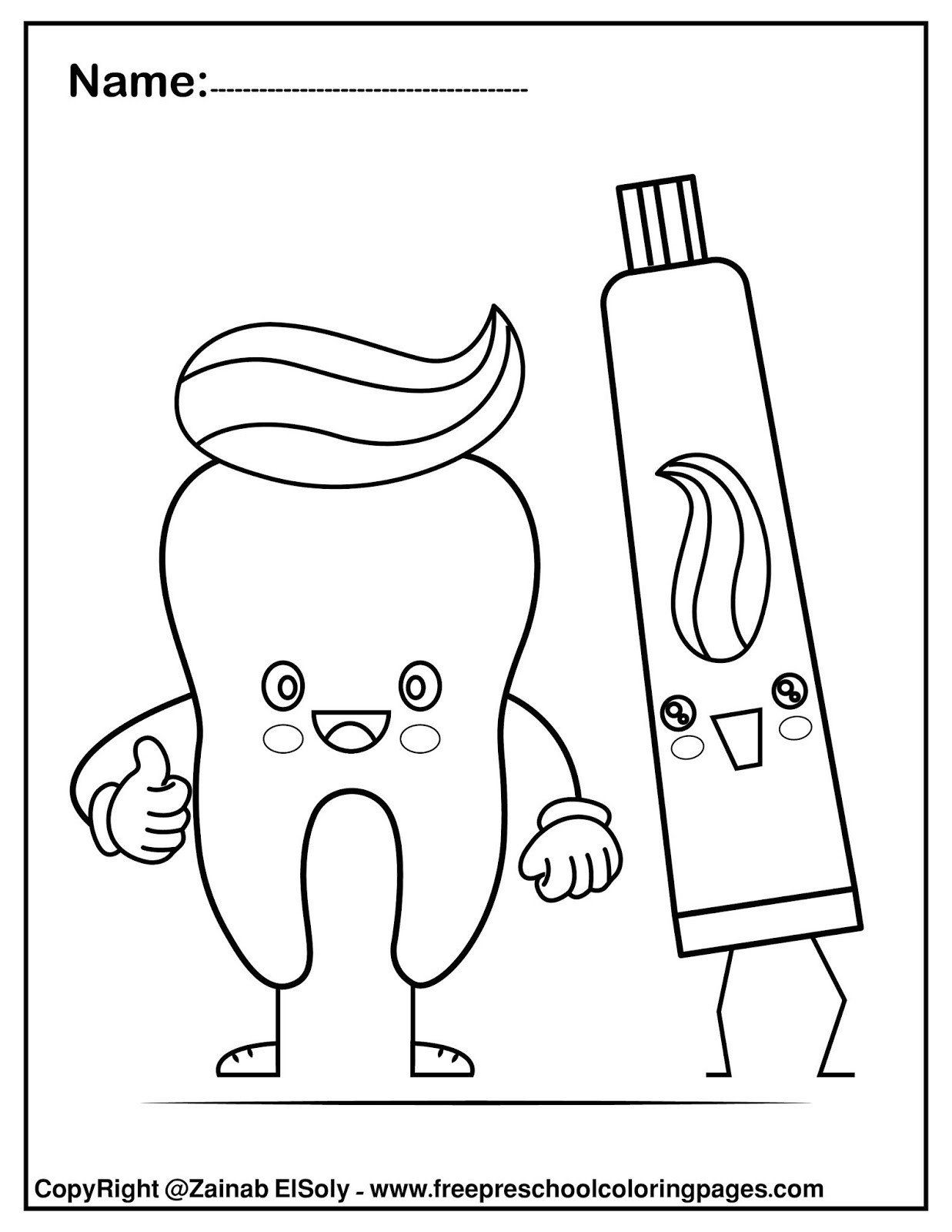 Dentist Worksheets For Kindergarten Coloring Pages Set