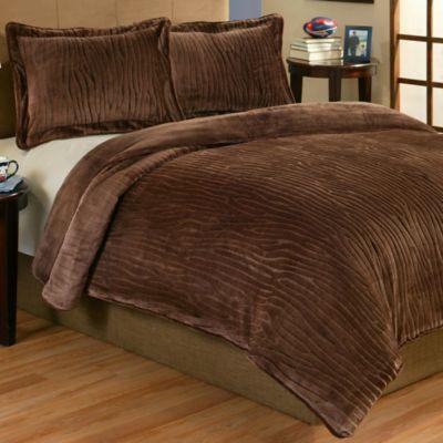Lodge 2 Piece Plush Twin Comforter Set In Brown