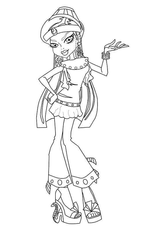 monster high nefera de nile wear nice costumes coloring pages