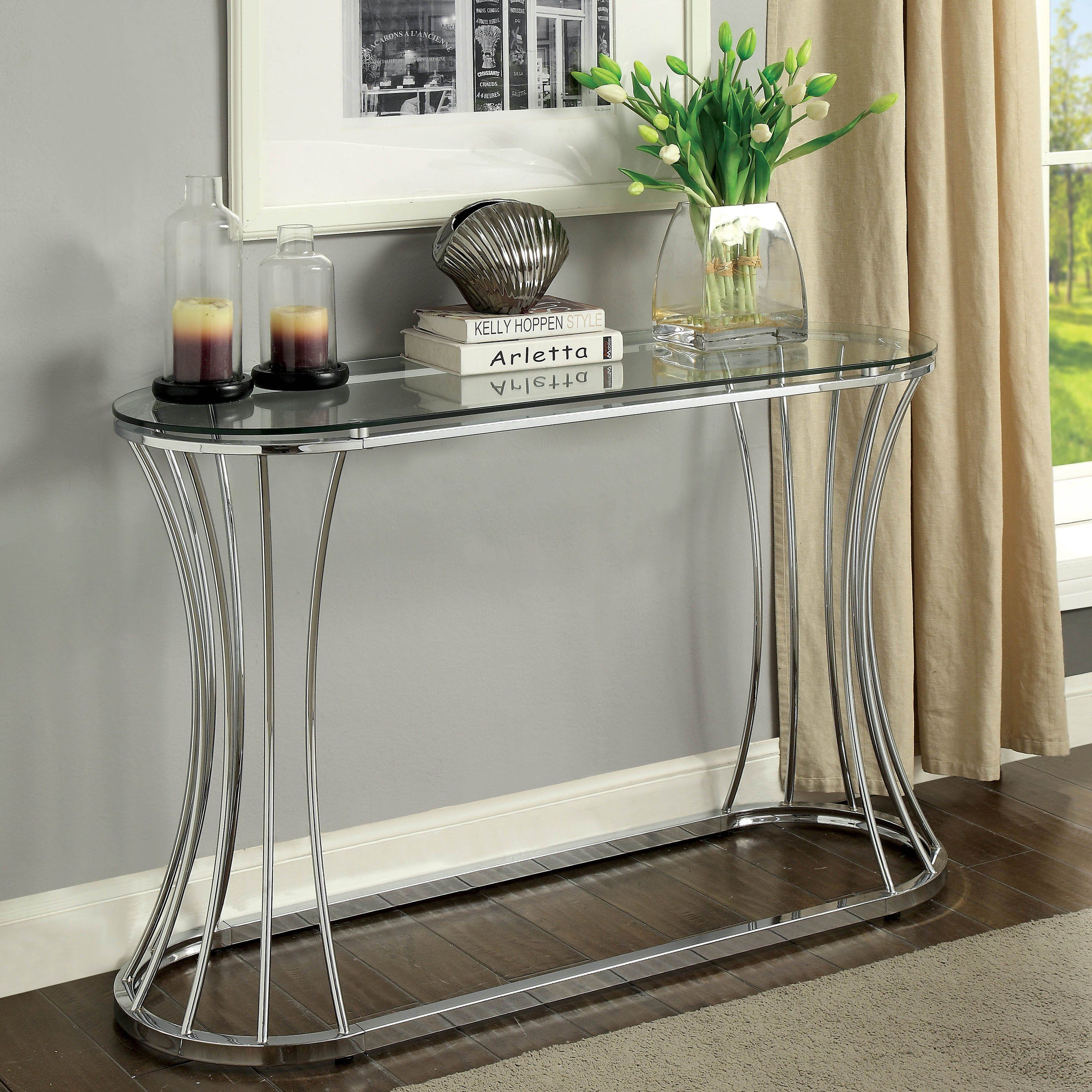 Breckenwald Contemporary Chrome Slatted Sofa Table By Foa Chrome