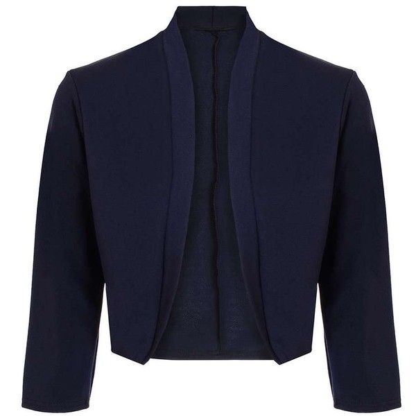 83a32ee4bdcf6 Dorothy Perkins *Quiz Navy Cropped 3/4 Jacket ($35) ❤ liked on Polyvore  featuring outerwear, jackets, navy, blue cropped jacket, dorothy perkins  jackets, ...