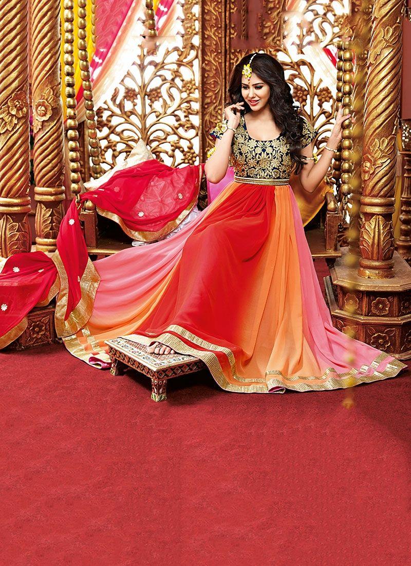 Multi Color Resham Work Georgette Anarkali Suit, Product Code :6080, shop now http://www.sareesaga.com/multi-color-resham-work-georgette-anarkali-suit-6080  Email :support@sareesaga.com What's App or Call : +91-9825192886