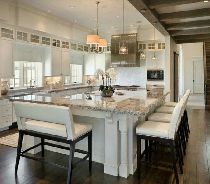 Giant Island With Raised Bar Kitchen Layout Home Kitchens