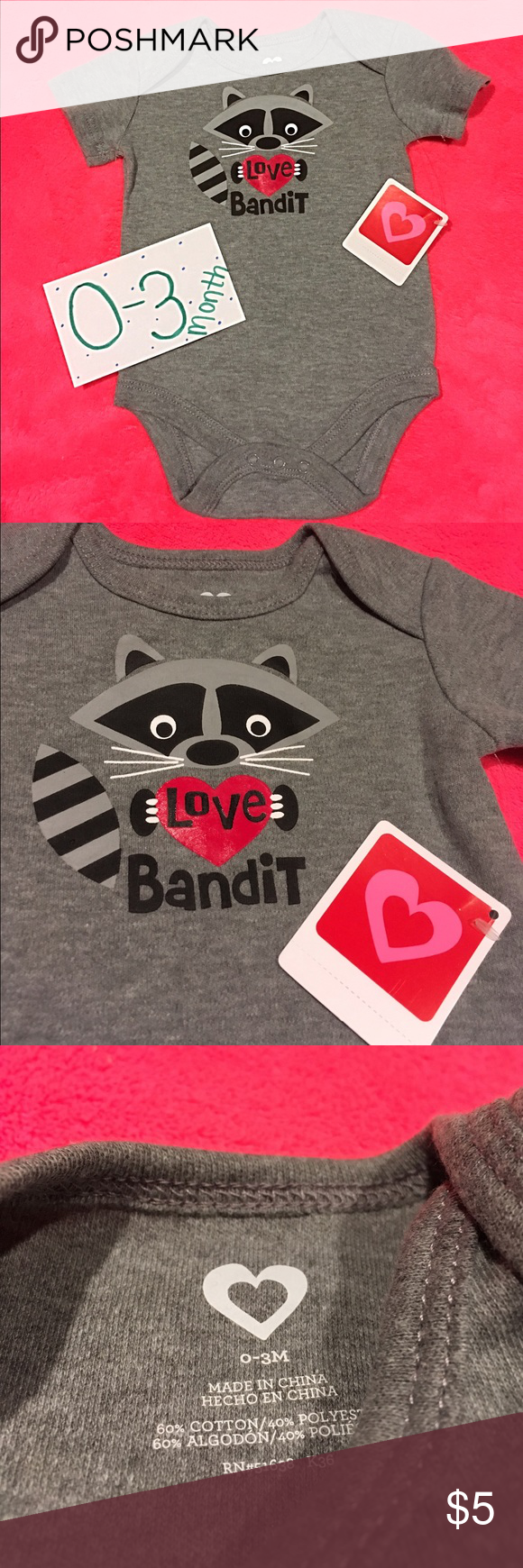 """""""Love Bandit"""" Onesie  Brand new with tags! Unisex *Closet Clear Out Sale Going On Now! Baby due in 2 months--- Need to make room! One Pieces Bodysuits"""