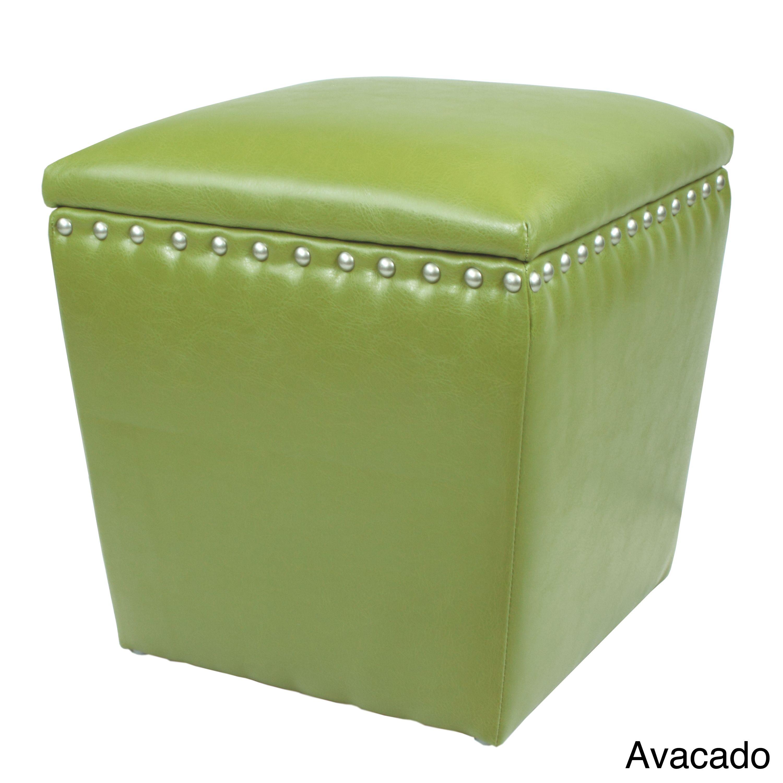 Bon Arlington Split Leather Storage Ottoman (Avacado), Green, Size Small