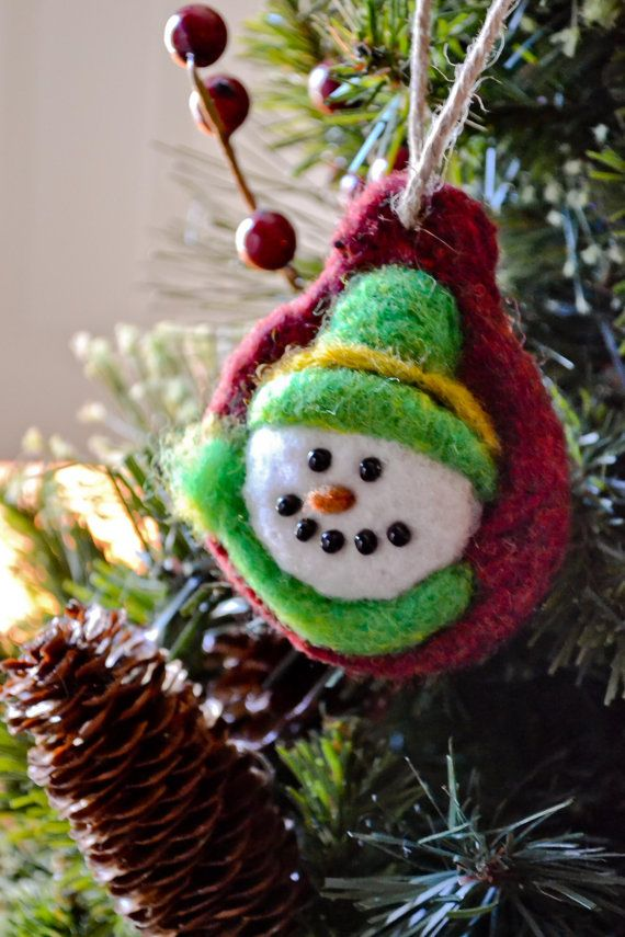 Needle Felted Snowman Christmas Ornaments, Set of Two, Felted Wool
