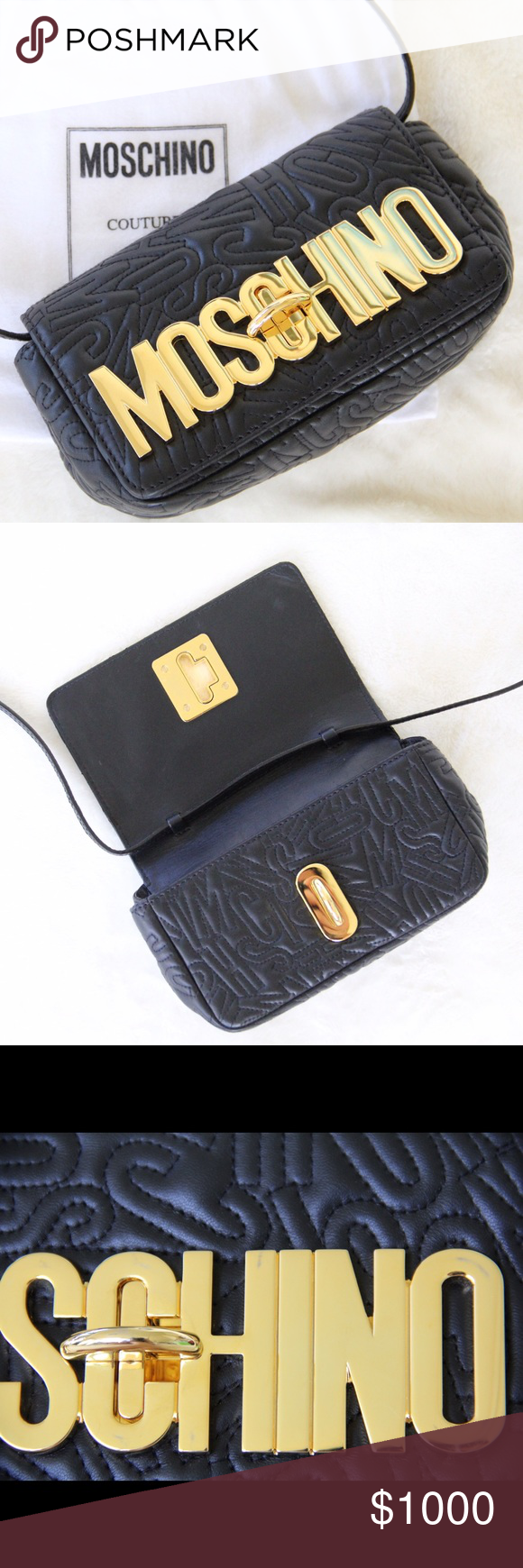 Moschino Logo Embossed Mini Crossbody Purse ✨ Black sheepskin with stitched logo ✨Gold- tone logo plaque with fold over top and twist lock closure ✨ Adjustable shoulder strap ✨ Measurements- Height: 10cm, Width: 20cm, Depth: 8cm, Strap: 60cm ✨Slight scratches on logo, hardly noticeable (shown in third photo ) ✨Used a few times ✨Excellent condition ✨About $1,300 w/ tax Moschino Bags Crossbody Bags