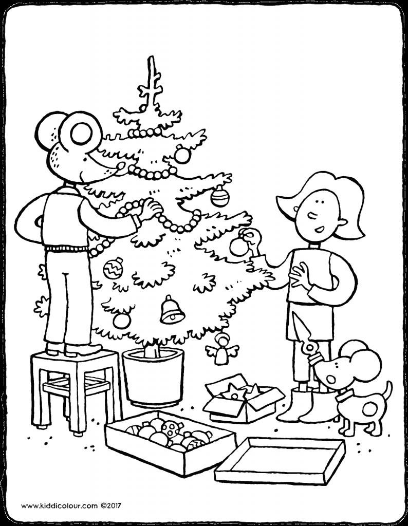 Kleurplaten Kerstboom Versieren.Emma En Lowie Versieren Kerstboom Kleurprent Kleurplaat 01v