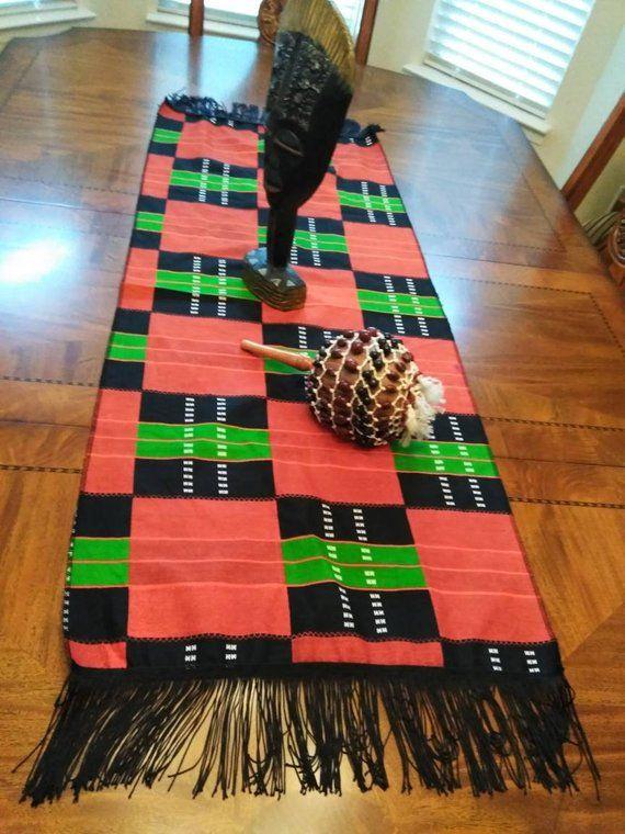 Red black Green Kwanzaa table runner with fringe/Kwanzaa decorating/ Celebrating Kwanzaa/ Kente table runner