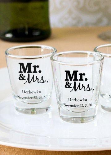 Personalized Bridal Shot Glasses Wedding Shot Glasses